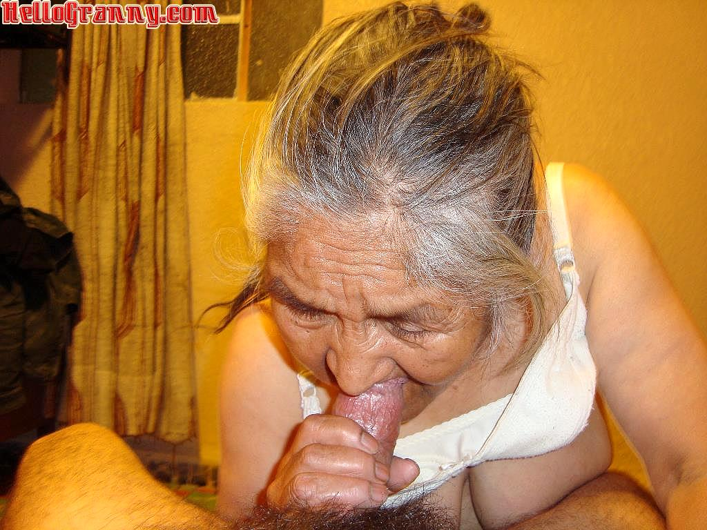 Latina granny sucks porn star